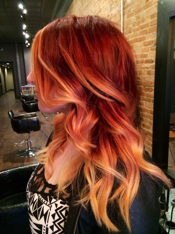 Summer Hair, Red, Highlight, Ombre, Baliage, Bold Hair Color, Jason Franks Fahrenheit Eaton Rapids, MI Joico Matrix