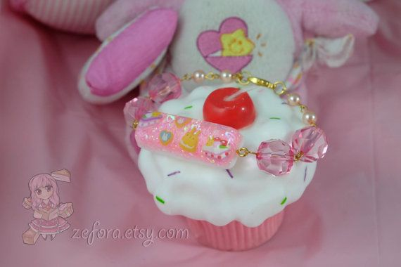 Kawaii Bunny Treats And Sweets Pink Resin Charm Bead by zefora