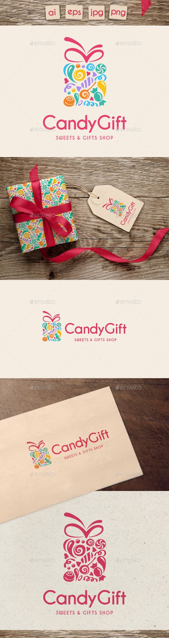 Candy Gift Logo  — PNG Image #sweet • Download ➝ https://graphicriver.net/item/candy-gift-logo/18540059?ref=pxcr