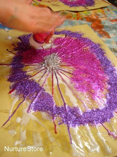 """Firework craft with glitter & glue from NurtureStore ("""",)"""