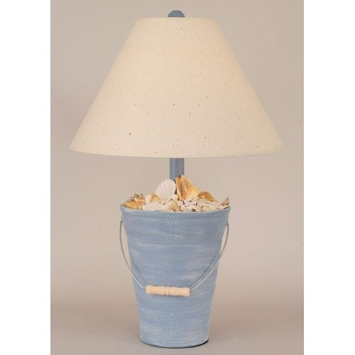 Bucket Of Shells Weathered Wedgewood Blue One Light Table Lamp Beach Cottage Bedroomsbeach Styleblue
