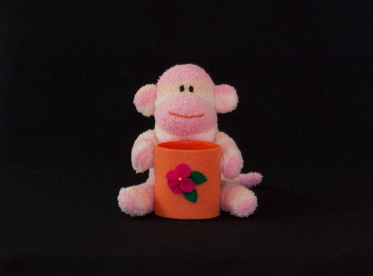 CubiePals cute sock monkey pencil holder - cute desk accessory - cubicle decor - office accessory - cute dorm decor - orange by ToriNgDesigns on Etsy