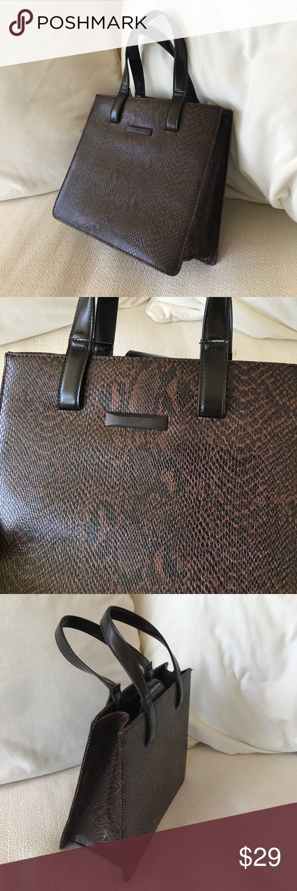 "Espirit brown snakeskin bag Like new vintage boxy structures handbag. So classy and cute!  Brown and black print with lined interior and zipper pocket. Approx size is 9x9"" and 4 inch depth. Esprit Bags"