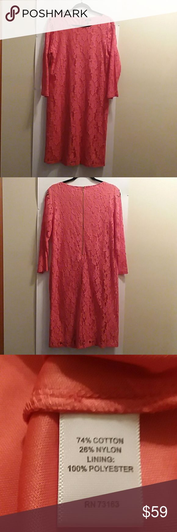 "NEIMAN MARCUS DRESS, LACE, SIZE 14 PLEASE FEEL FREE TO ASK QUESTIONS BEFORE PURCHASE   NWOT, NEVER WORN   COLOR: CORAL LACE SHEATH STYLE ROUND NECK GOLD ZIPPER IN THE BACK  3/4"" SLEEVES LINED 18"" PIT TO PIT  39"" BUST  34"" WAIST  39"" LONG LAYING FLAT  SEE 3RD PIC FOR FABRIC CONTENT NEIMAN MARCUS Dresses"