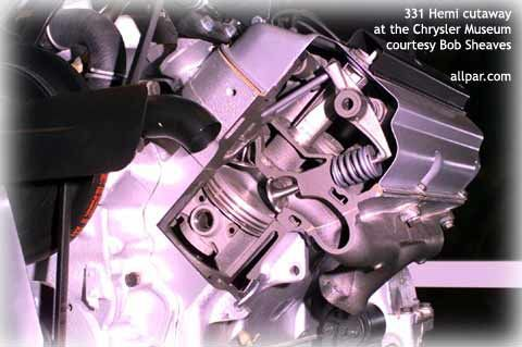cutaway view of the Chrysler Hemi engine - 331