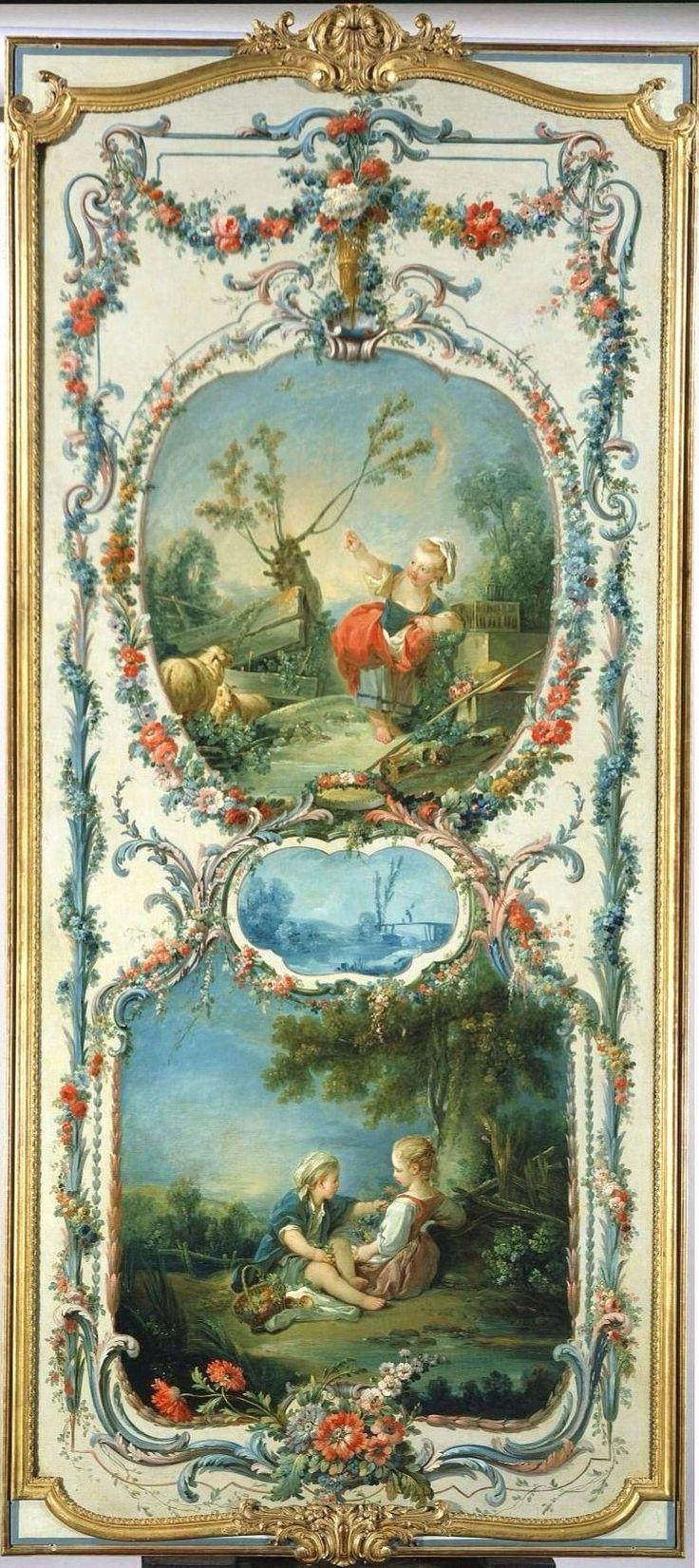 François Boucher  (1703 - 1770)   The Arts and Sciences: Fowling and Horticulture, 1750-1752  oil on canvas  Madame de Pompadour, Château de Crécy  The Frick Collection  #Boucher .