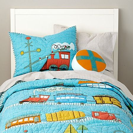 Train bedding land of nod kids pinterest quilt the o 39 jays and trains for Toddler train bedroom