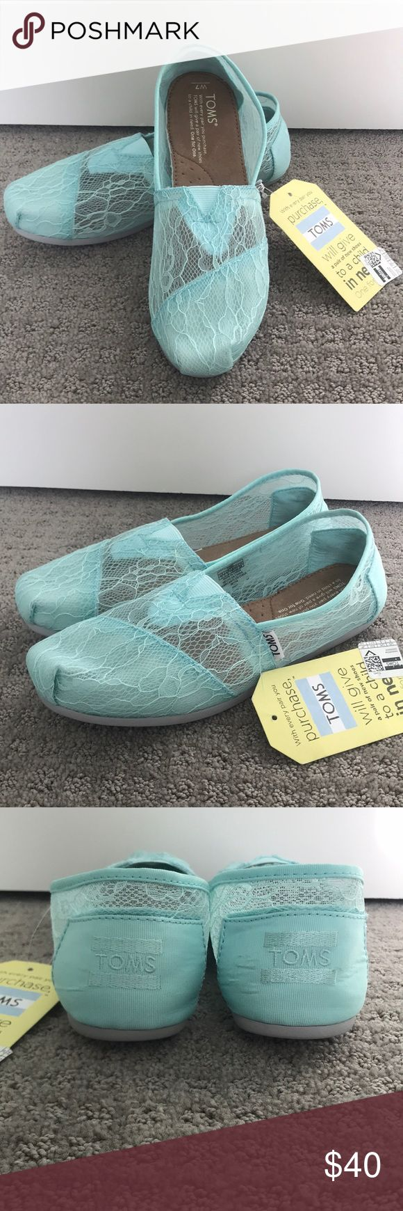 Gorgeous Lace TOMS Stunning NWT Size 7- Woman's Classic Mint Lace TOMS. New with tags. Toms Shoes