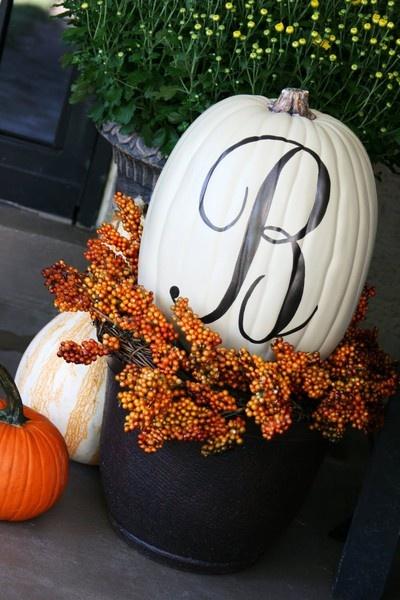 Front porch: Fall Pumpkin, Fall Front Porches, Monograms Pumpkin, Idea, Fall Decor, Falldecor, Holidays Decor, White Pumpkin, Fall Porches