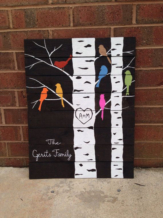 This cute one of a kind family tree would be great in your home!  It is made from reclaimed wood and is totally customizable to your family. Each