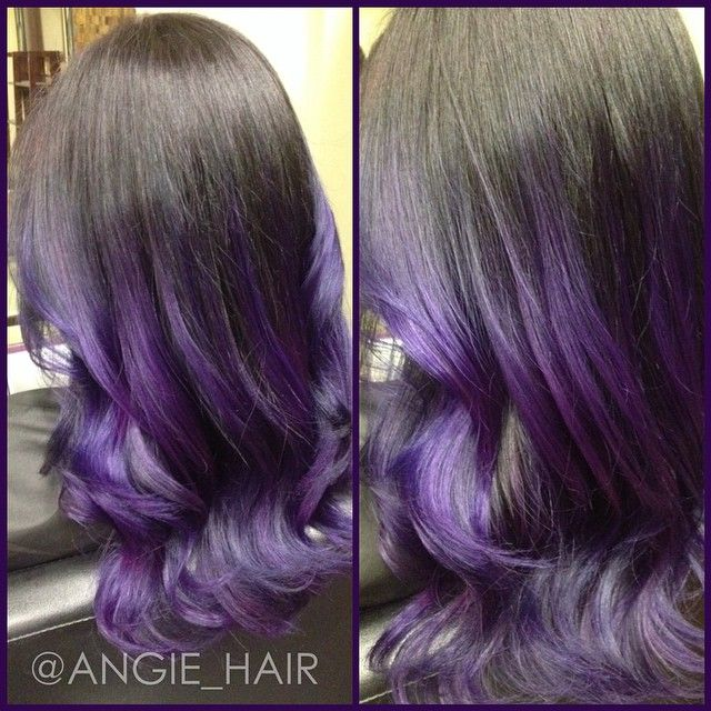 beautiful purple ombre hair color