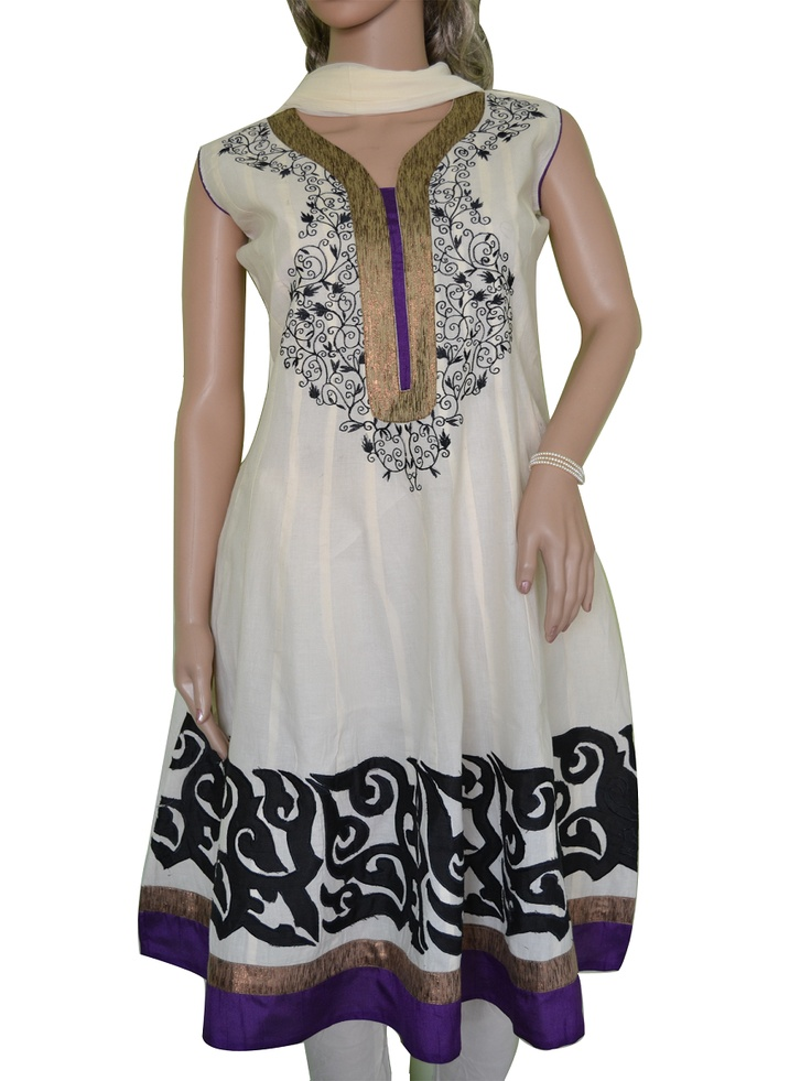 Anarkali style Off-White Cotton Salwar Kameez with Black patch work on the bottom of the Kameez and Black embroidery on the neck and yolk.  Additional cloth for optional medium size sleeves available.Appropriate for a family get together. Buy it on www.folklor.in