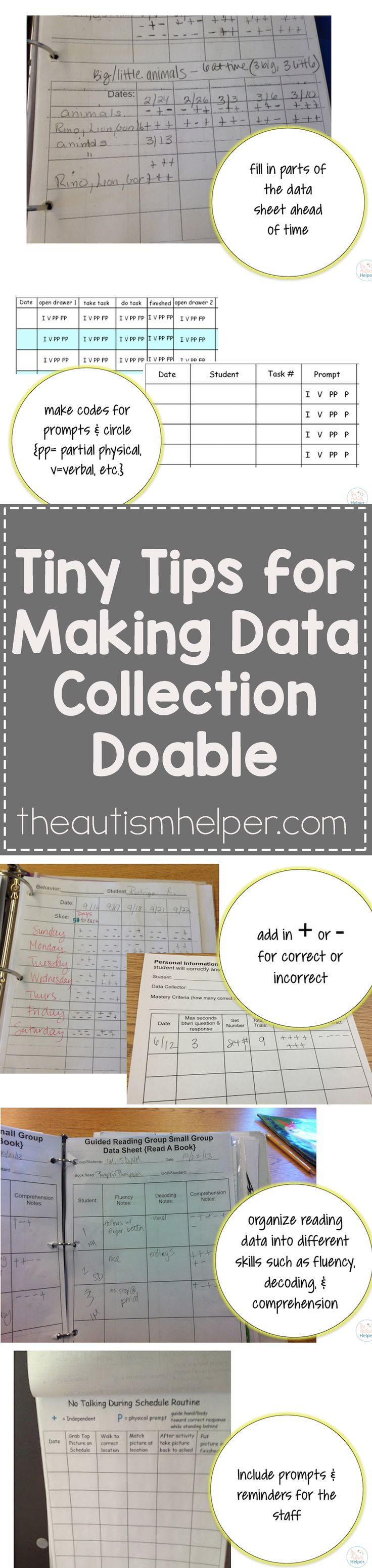 If data collection isn't easy, you won't do it. So keep it simple, basic & straightforward with our tips! From theautismhelper.com #theautismhelper