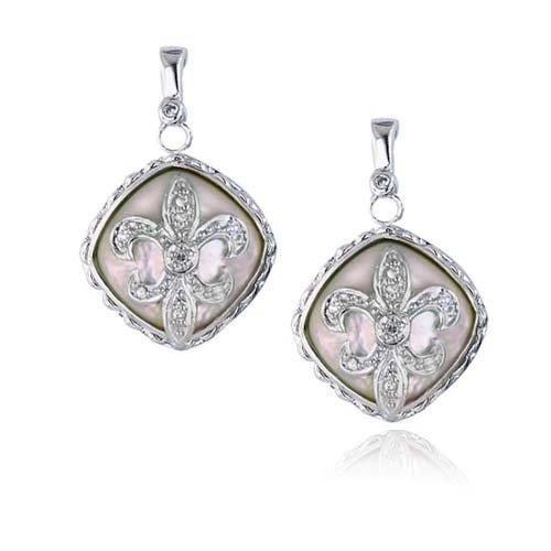 Bling Jewelry Pave CZ Mother of Pearl Sterling Silver Fleur De lis Earrings