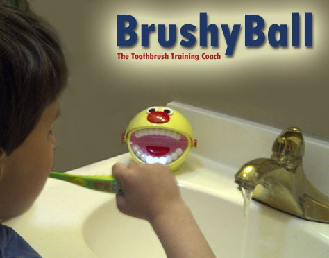 BrushyBall speaks and teeth light up in sections to coach brushers through complete brushing each time they brush.