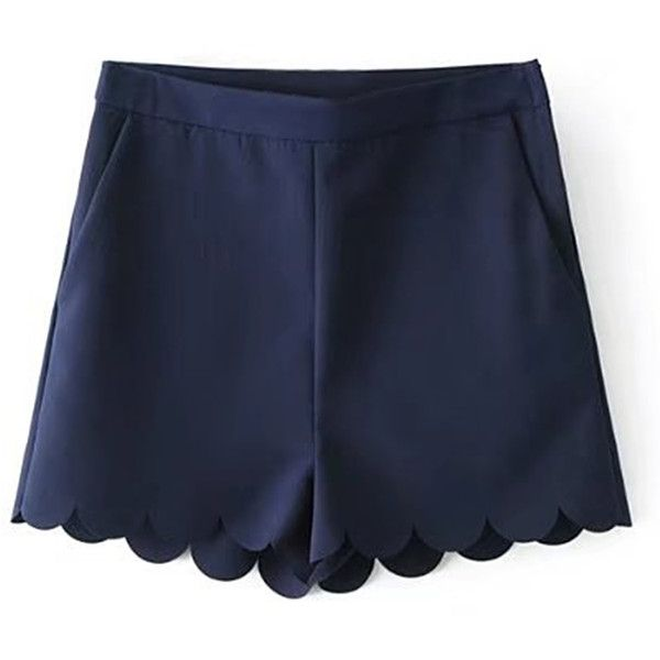 SheIn(sheinside) Wave Hem Loose Shorts ($16) ❤ liked on Polyvore featuring shorts, navy, zipper shorts, navy blue shorts, loose fit shorts, loose shorts and loose fitting shorts