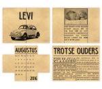 geboortekaart in de vorm van een oude krant