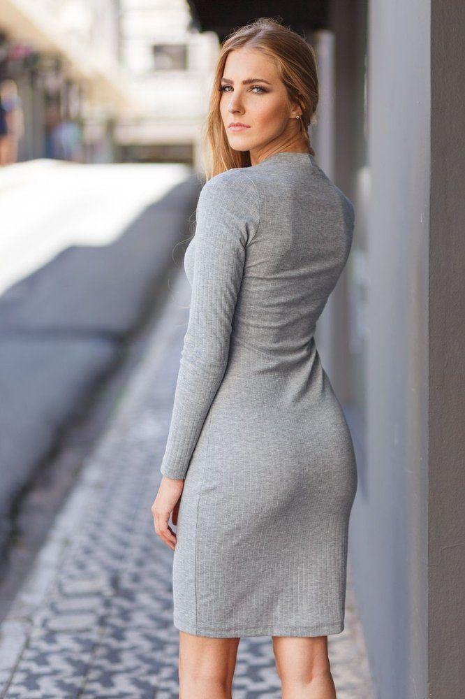 Vestido manga longa básico de malha cinza da marca Coleteria ♡ - Coletes femininos e infantis - Coleteria   sempre♡