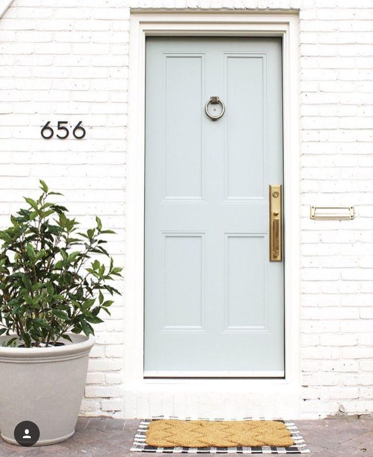 90 Incredible Modern Farmhouse Exterior Design Ideas 12: White Brick Houses, Best
