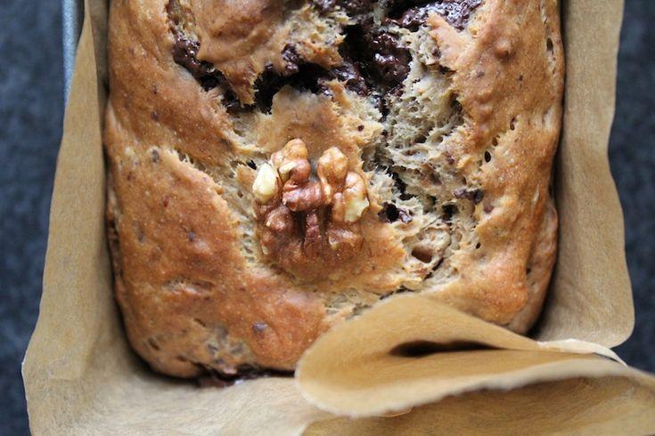 Bananenbrood met walnoten en chocola