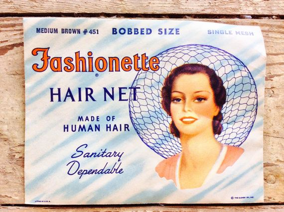 Vintage Hair Net In Original Packaging Made From Real Human Hair, Conversation Piece, Vintage Salon Decor, Bathroom Decor