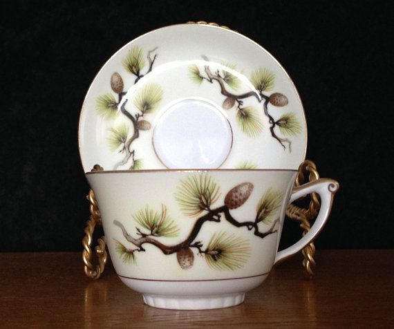 Narumi China Japan Shasta Pine Pattern Number 5012 Dated 1958 Fine China Dinnerware Teacup and Saucer