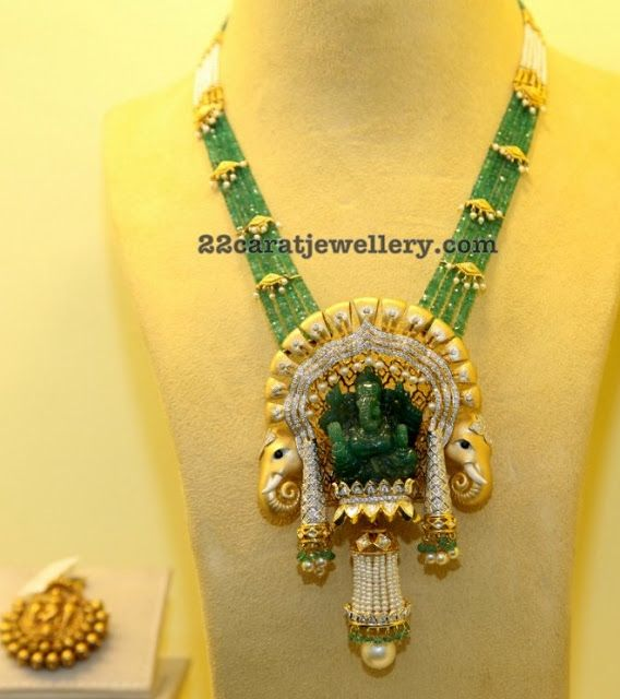 Emerald Beads Set Ganesh Pendant