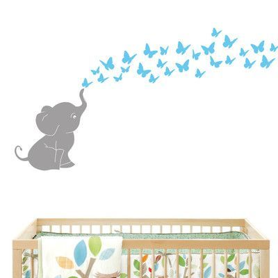 DecaltheWalls Elephant with Butterflies Wall Decal Color: Gray/