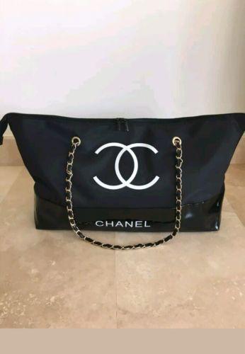 8ee34b78b922ed Chanel VIP Gift Black Nylon Tote Bag Shopping Travel Shopper Leather Chain