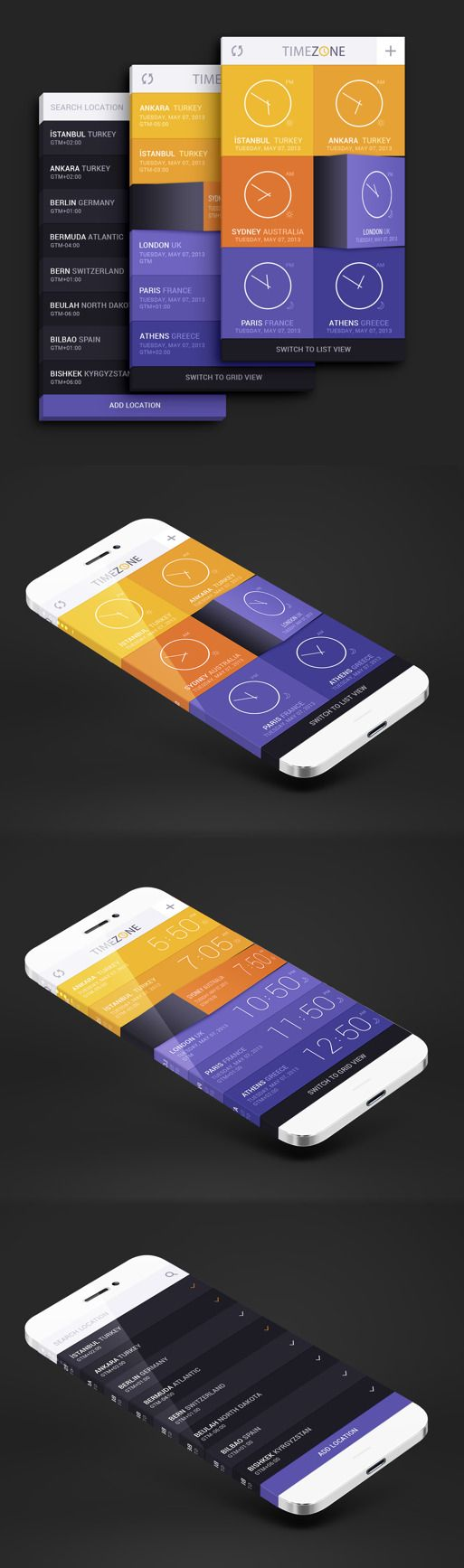 TIME ZONE iPhone app interface by Enes Kırdemir