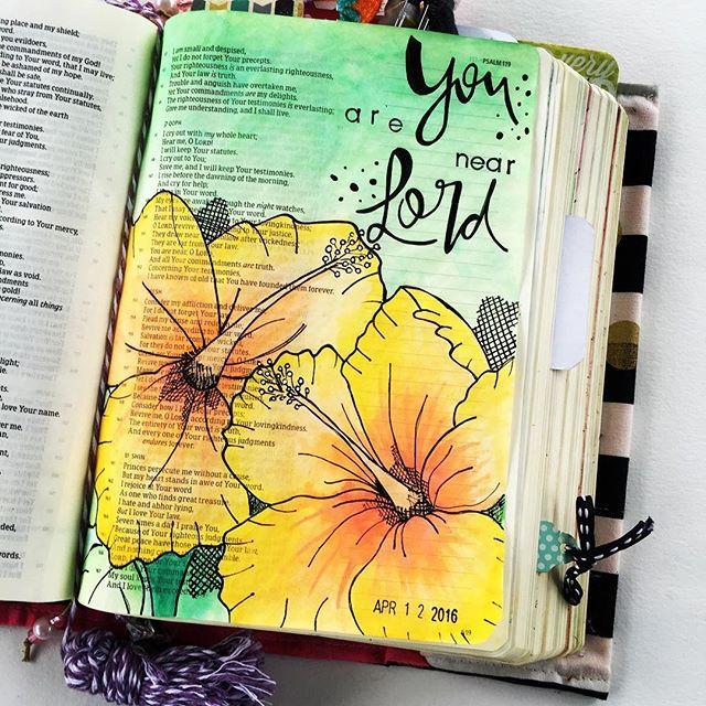 Bible Journaling by Raquel DeJesus @dejesusraquel | Psalm 119:151