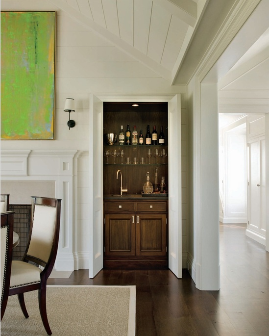 Basement Bar Conceptual Would Need Glass Sliding Doors: Small Wet Bar W Door. However, Need Mirror-backed And