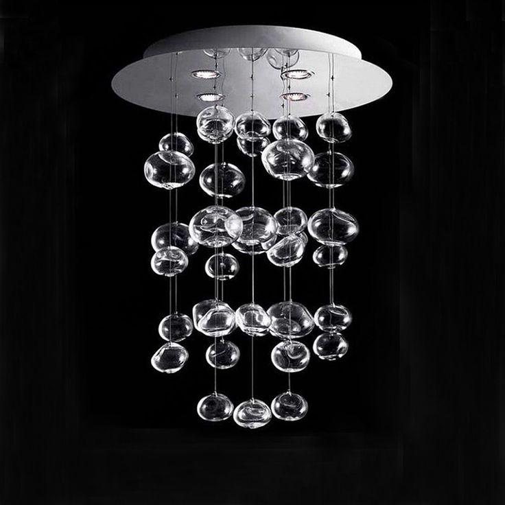 Z現代ledガラス玉シャンデリアバブルデザインリビングルームレストラン吊りランプ寝室つりランプホテルの照明器具