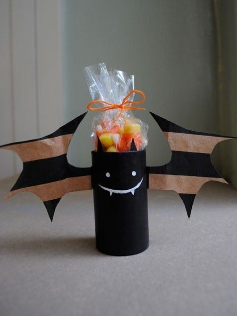 Toilet Paper Bat with candy corn as gift