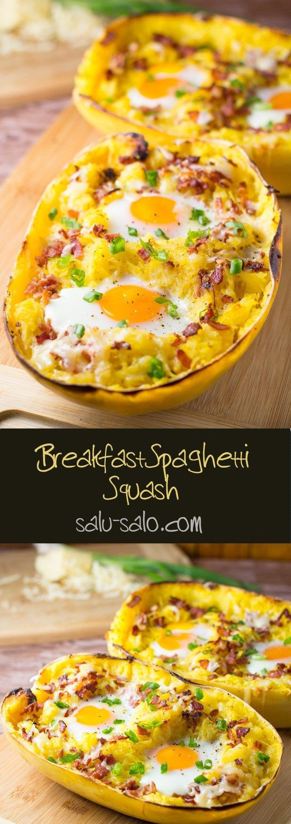 Breakfast Spaghetti Squash--take out the bacon, or replace with veg crumbles