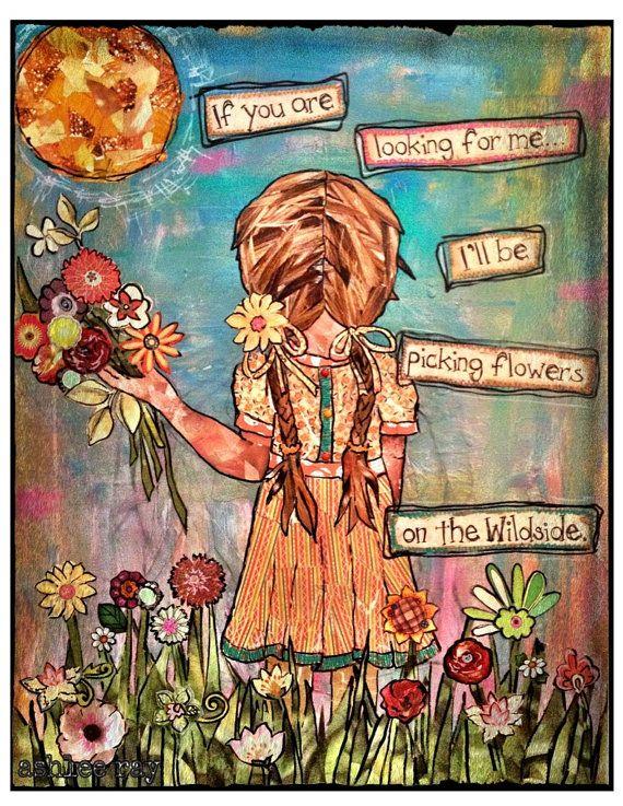 Mixed media girl picking wild flowers via Etsy