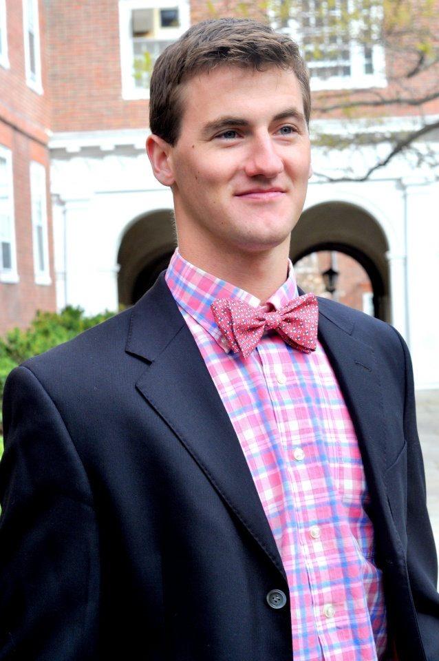 The Vineyard Vines Harvard bowtie in Pink. Modeled by Harvard student Rob.  #Harvard #VineyardVines