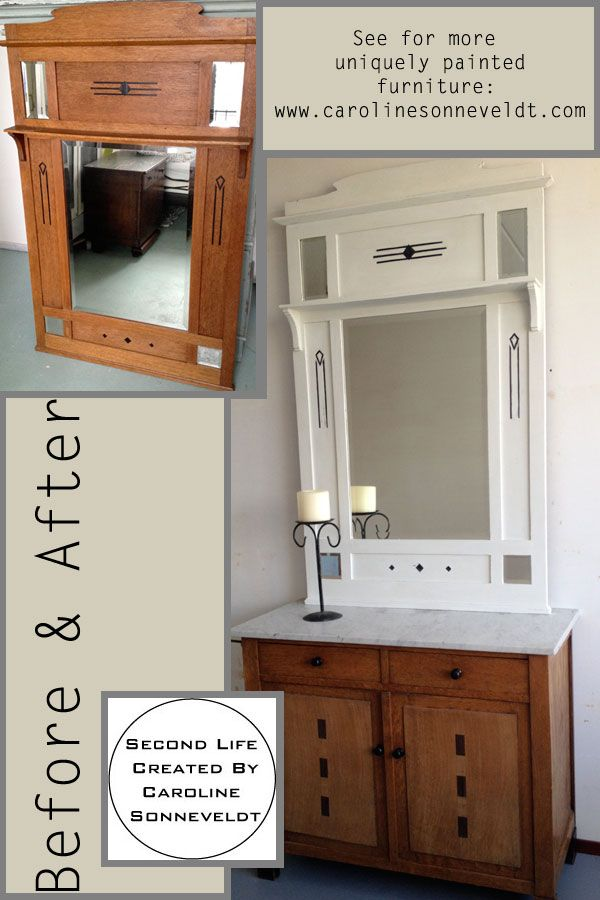 Repainted Furniture: Old to Fresh.. Painted by Caroline Sonneveldt (that's me) and of course used chalk paint.  Chalk painted - Mirror - White - Before and After.  Witte Spiegel in krijtverf.