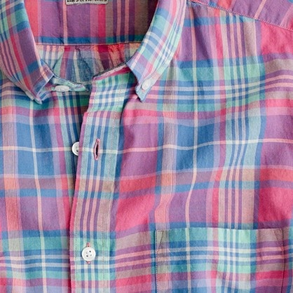 Indian cotton short-sleeve shirt in Bryn plaid
