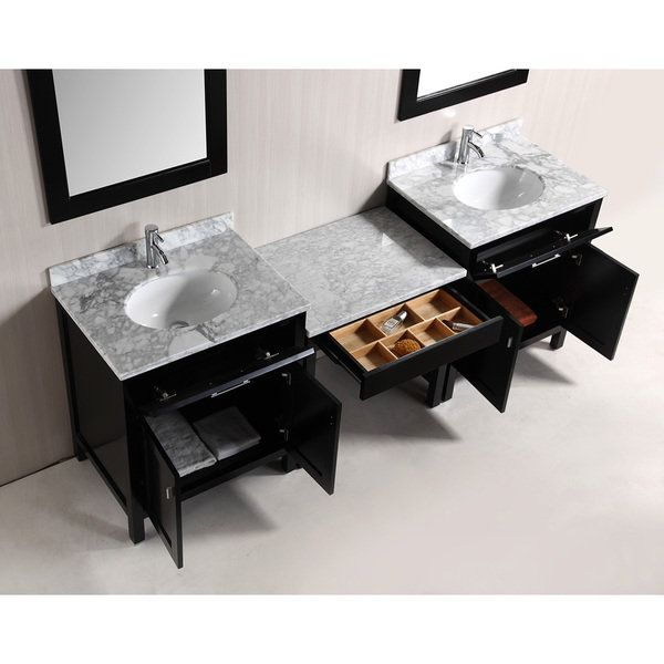 espresso vanity set with bench. Design Element London 90 inch Espresso  Brown Vanity Set with Makeup Table and Bench Seat Size Single Vanities Inches Designs