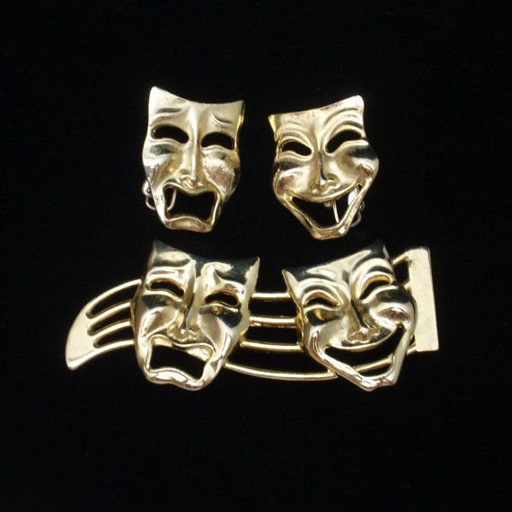 Comedy Tragedy Theater Masks Pin & Earrings Set by WorldsAttic