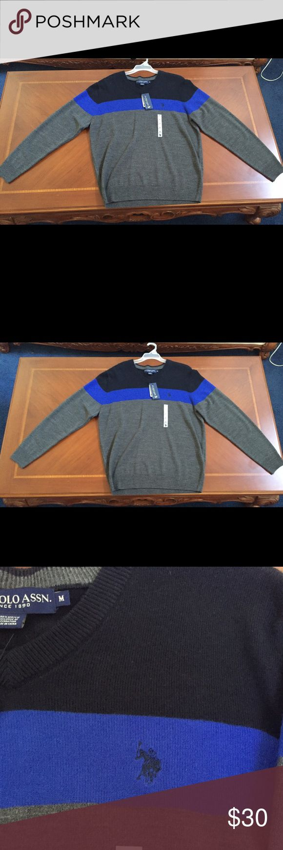 Men's U.S. Polo Association cardigan Tri-color men's cardigan, black, blue, and grey. Polo logo on upper right. V-neck cut. Originally from Sears. Never worn, new with tags. U.S. Polo Assn. Sweaters V-Neck