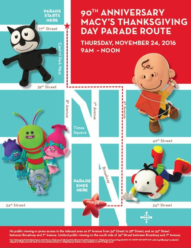Find a spot along the Macy's Thanksgiving Parade route with this map!: Macy's Thanksgiving Day Parade Map