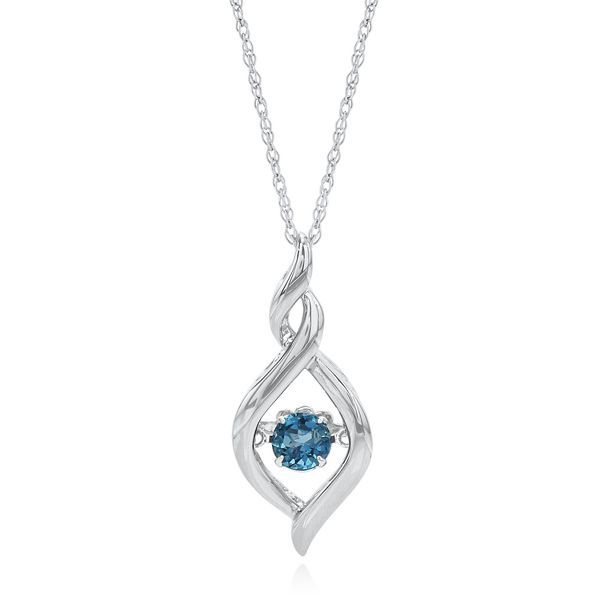 Angara Rabbit Ear Natural Swiss Blue Topaz Necklace in White Gold 8gDNUr8