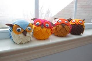 CUTE Owls - foam ball base, felt fun!