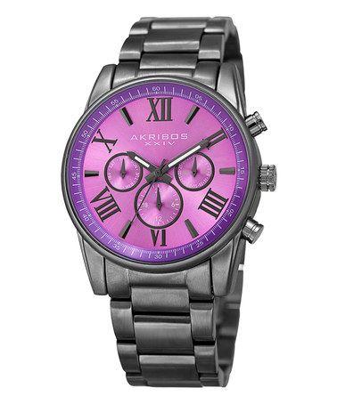 Another great find on #zulily! Purple & Gunmetal Chronograph Watch #zulilyfinds