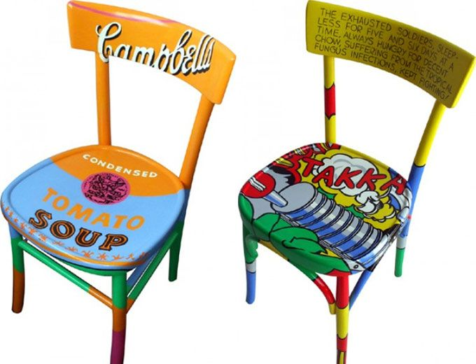 Cool chairs, I would love to do some pop art onto a chair. a project for the future.