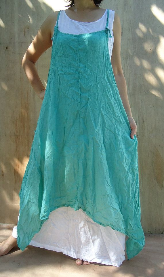 Mint Green cotton apron dress set of 2 with white dress by a2js, $28.00