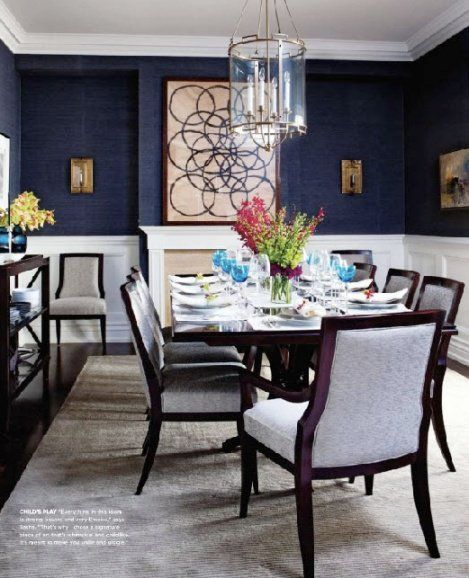 Blue Dining Room With Wainscoting