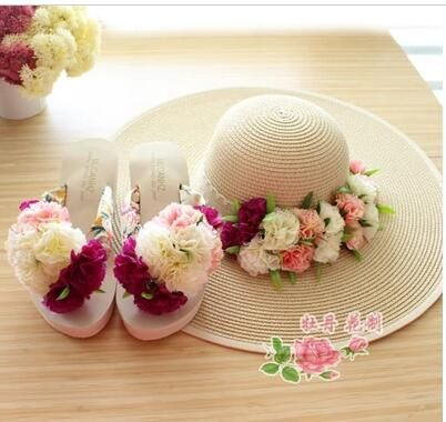 Shoes Woman Slippers 2016 Sexy Waterproof Platform  Shoes Handmade Flowers Holiday Sandals Beach Slippers Shoes Size 33-40